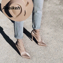 Aneikeh 2018 Stretch Fabric Mid-Calf Women Boots Pointed Toe