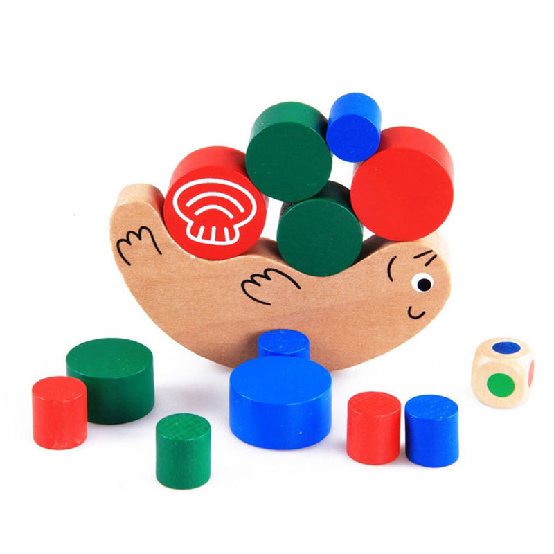 Montessori Educational Snail Balance Building Blocks Game Wooden Kids Early Learning Toys CL1549H