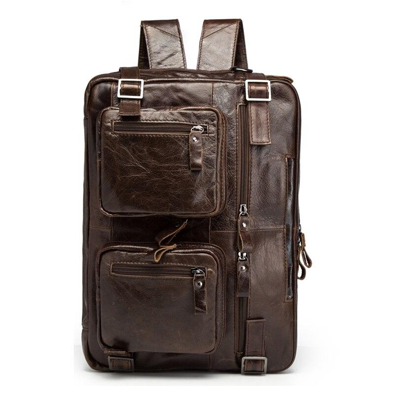 Uomo Donna Zaino Del Cuoio Genuino di Alta Capacità Viaggio CrossBody di Spalla di Modo di Affari di Cera Olio sacchetto del Messaggero Bolosa
