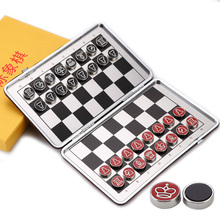 Travel Magnetic Chess Set Pocket Mini Game Piece PU leather Foldable Chessboard Alloy Steel Chessman I53