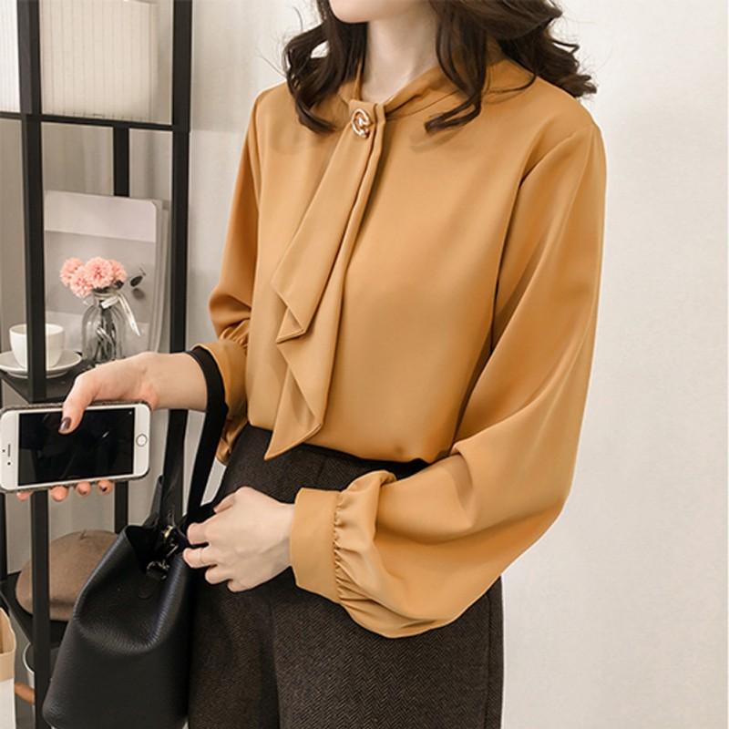 Fashion Lantern Long Sleeve Tie Neck Blouse Office Lady Solid Women Shirt Loose Casual Tops Female blusas mujer de moda 2019 in Blouses amp Shirts from Women 39 s Clothing