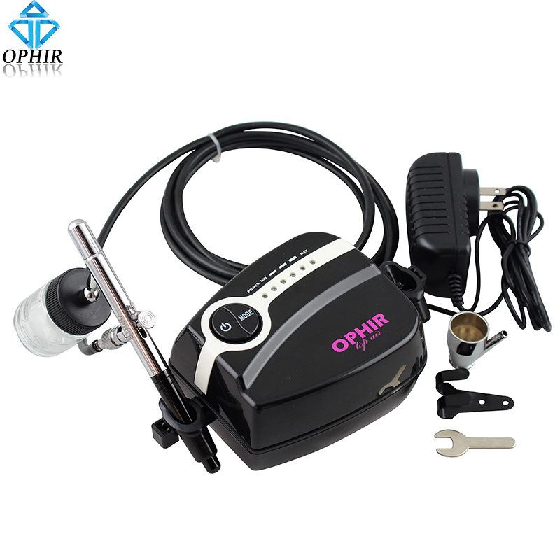 OPHIR Body Paint Portable Airbrush Kit with Air Compressor 0.35mm Dual Action Aitbtush Set for Makeup Hobby Tattoo#AC094P+AC072 ophir 0 3mm dual action airbrush kit with air compressor