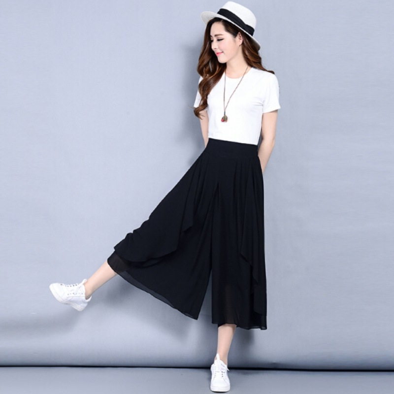 Women Casual Loose Wide Leg Pants Vintage Elastic Waist Trousers Multilayered Skirt Style Casual Oversized Pants