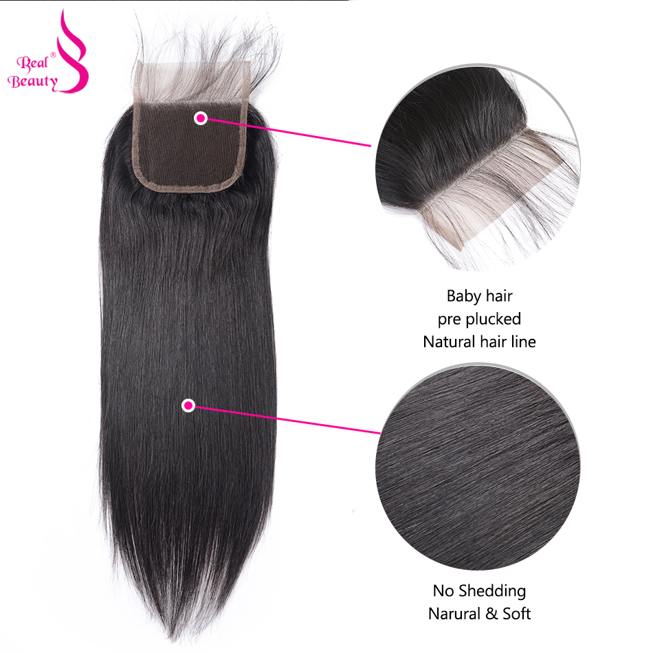Real Beauty  Straight Hair Lace Closure Three/Free/Middle/ Part  4x4 inch Swiss Lace Closure 5