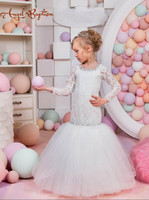 Vintage white mermaid long sleeves flower girl dresses with sheer lace beads diamond lace up back for junior bridesmaid wedding