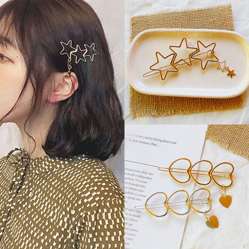 Fashion Simple Women Girl Hollow Hair Accessories Hairpin Star Heart Shaped Hair Clip   Headwear   Hair Ornament Hair Styling Tools