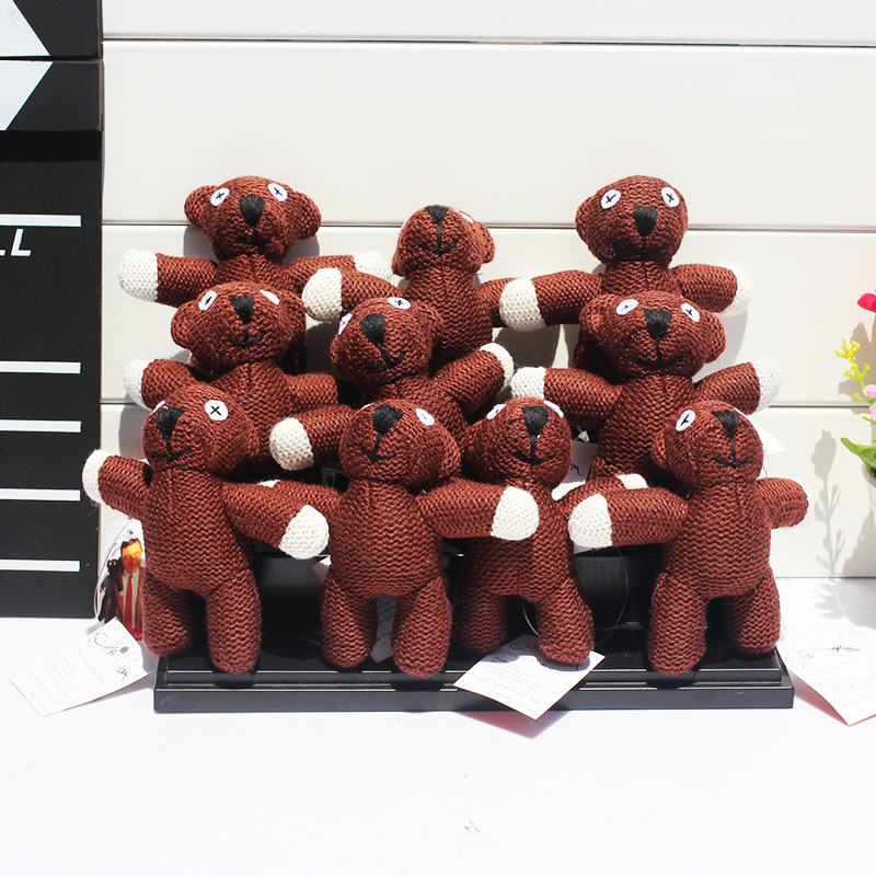 10pcs/lot Mr. Bean Teddybear Plush Toy Doll with Ring 4 10cm Soft Stuffed Doll Free Ship ...