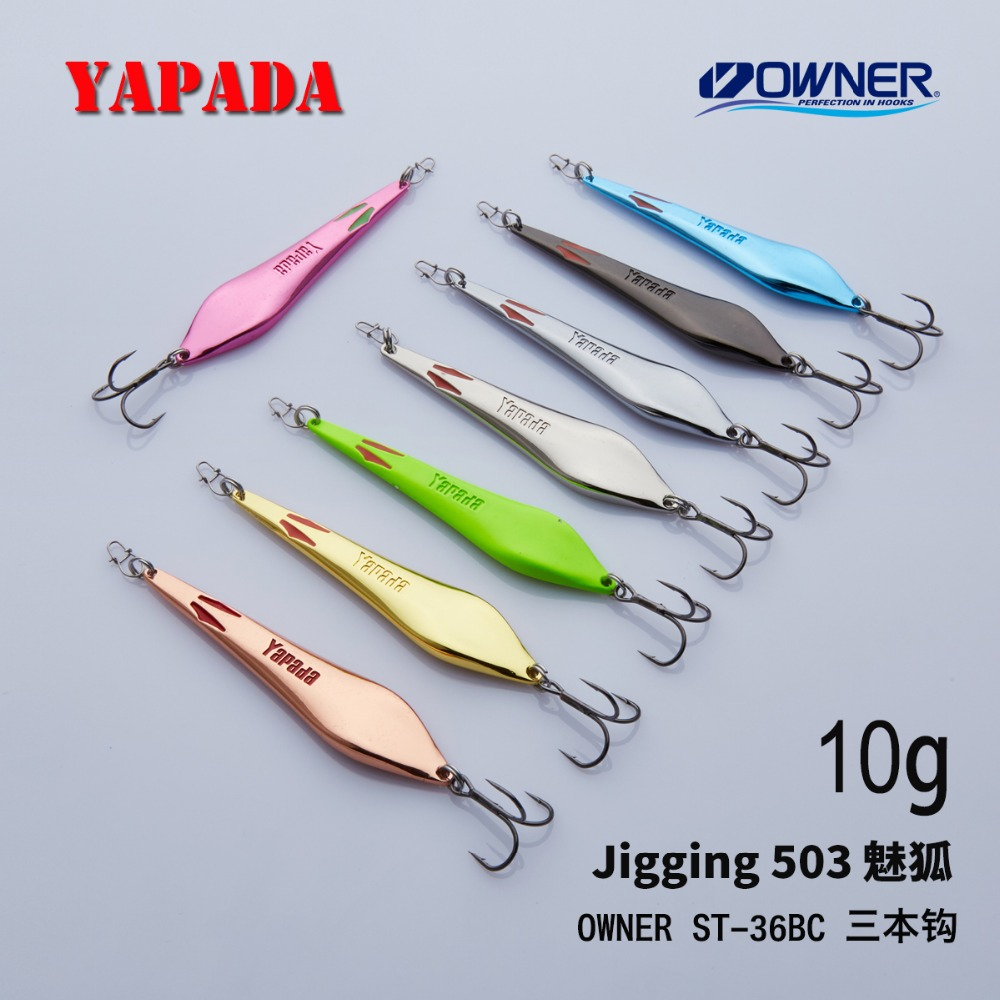 YAPADA Jigging 503 Demon Fox 10g / 15g OWNER Treble Kroge 70-80mm Feather Multicolor Metal Zinklegering Fiske Lures Bass