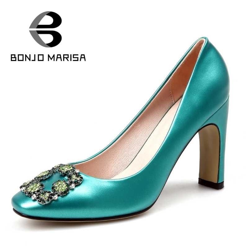 ФОТО BONJOMARISA Size 34-42 Sexy Women Office Lady Square Toe High Heels Party Wedding Rhinestone Shoes Less Platform Pumps