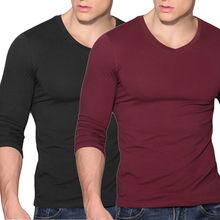 Fashion Men s font b Slim b font T shirt Fit V Neck Long Sleeve Muscle