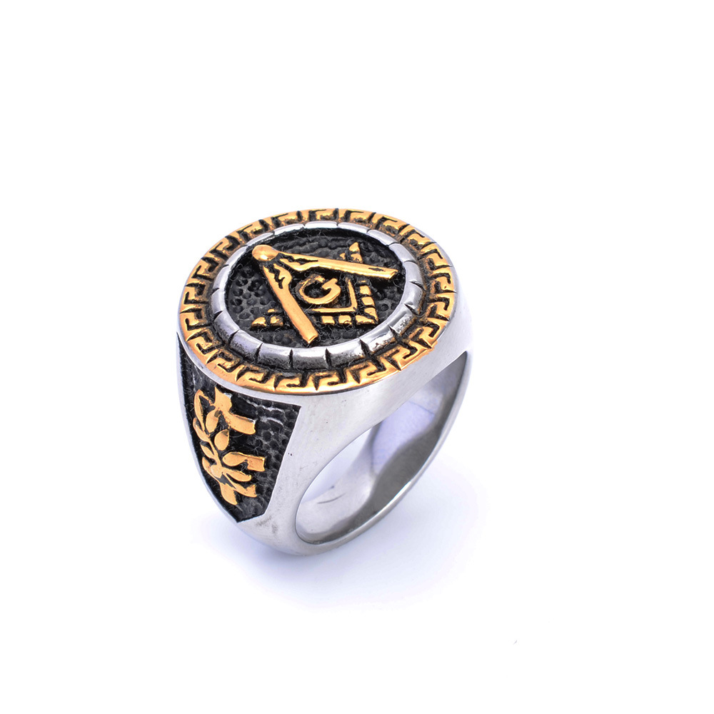 Mens Silver&Gold Square Free Mason Freemasonry Masonic Ring 316L Stainless Steel Ring soitis free mason hip hop stainless steel past master masonic free mason freemasonry pendants mason necklaces gold color