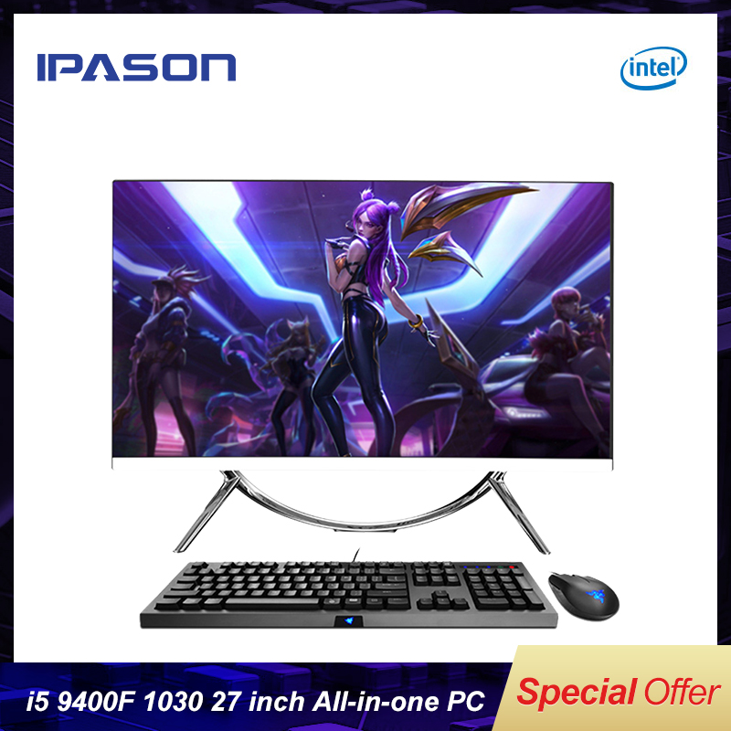 IPASON  All In One Gaming PC V10 27 InchIntel 6 Core I5 9400F DDR4 8G RAM 240G SSD Non-Integrated 1030 2G Graphics Card