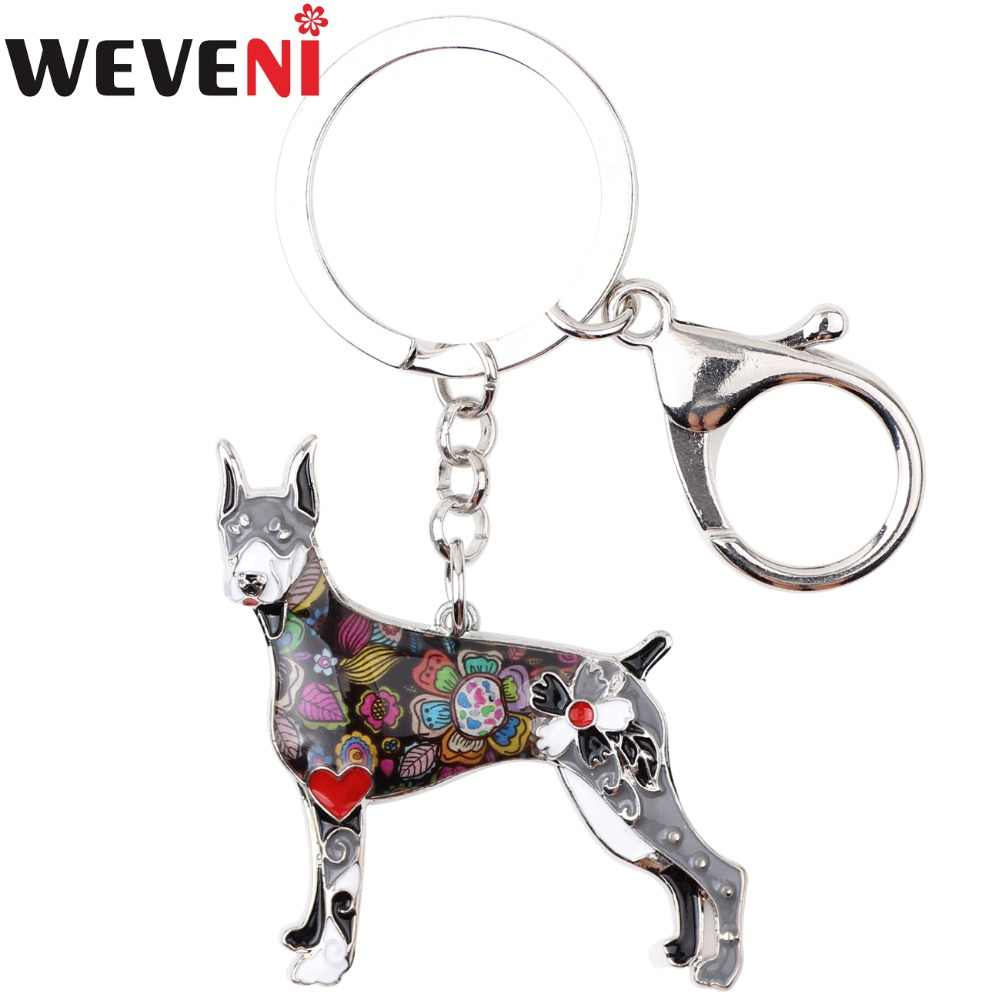 WEVENI Enamel Alloy Doberman Dog Key Chain Key Ring Bag Charm Car Wholesale Keychain Accessories New Fashion Jewelry For Women