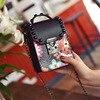 Women Rivet Bag Brands Pu Chain Bag Mobile Phone Coin Purse For Flower Bags Girls Small
