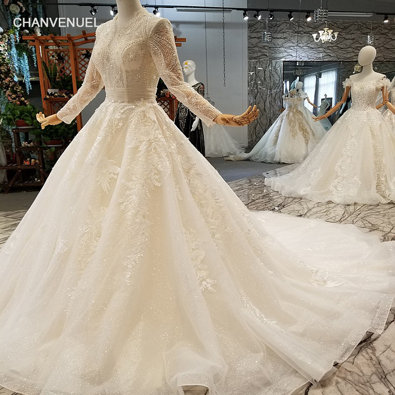 LS217770 deep v-neck wedding gown long lace tulle sleeve ball gown lace flowers wedding dress from china factory free shipping