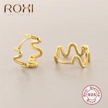 цена на Fashion Geometric Irregular Earring for Women Wave Wire-Shaped Stud Earrings Brincos Oorbellen 100% 925 Sterling Silver Jewelry