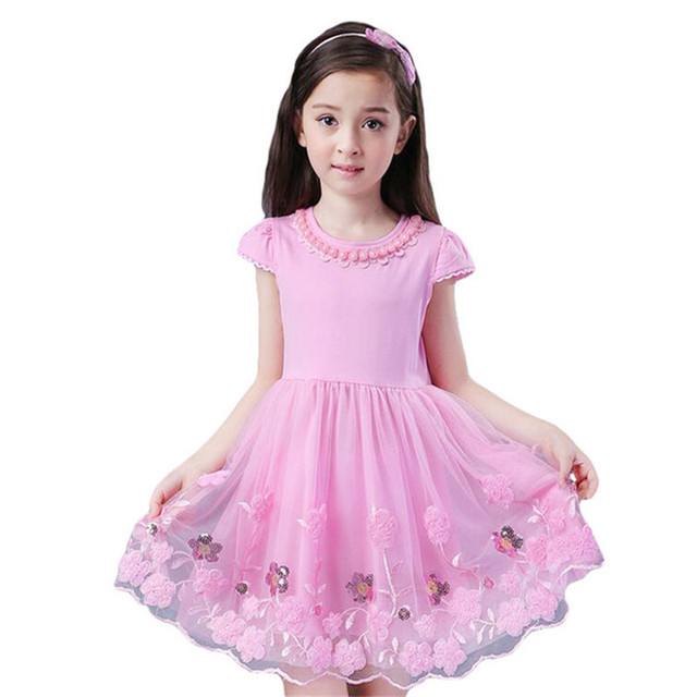 Summer Lace Flower Girls clothing dress O Neck Ruched Kids Prom ...