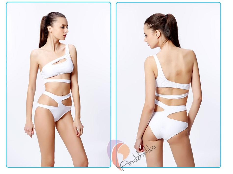 as mulheres sólido um ombro cortar monokini maiô bodysuit