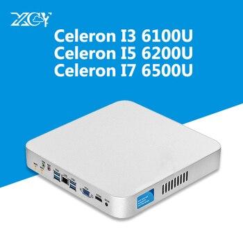 XCY Intel Core i7 6500U i5 6200U i3 6100U Мини ПК 16G ram Wifi Kaby Lake Windows 10 4 K HTPC Nuc HD graphics 520 usb PC