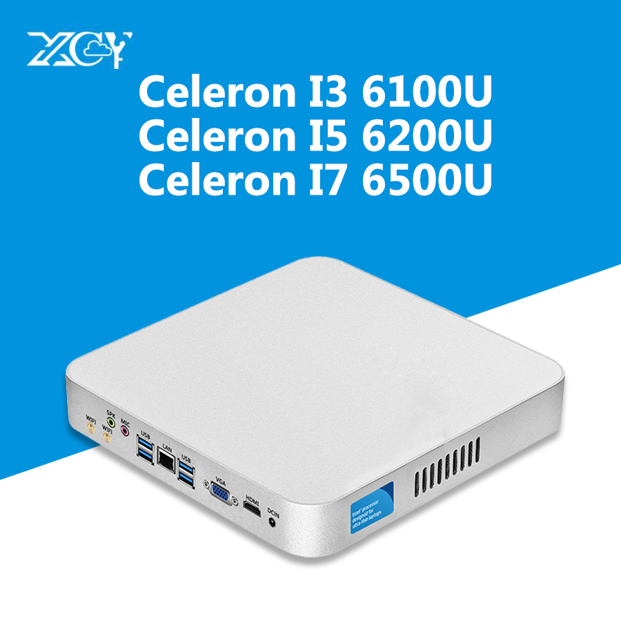 XCY Intel Core i7 6500U i5 6200U i3 6100U Mini PC 8G RAM 240 г SSD Wi Fi Kaby Lake Win10 вентилятор 4 К HTPC Nuc HD Графика 520 компьютеров