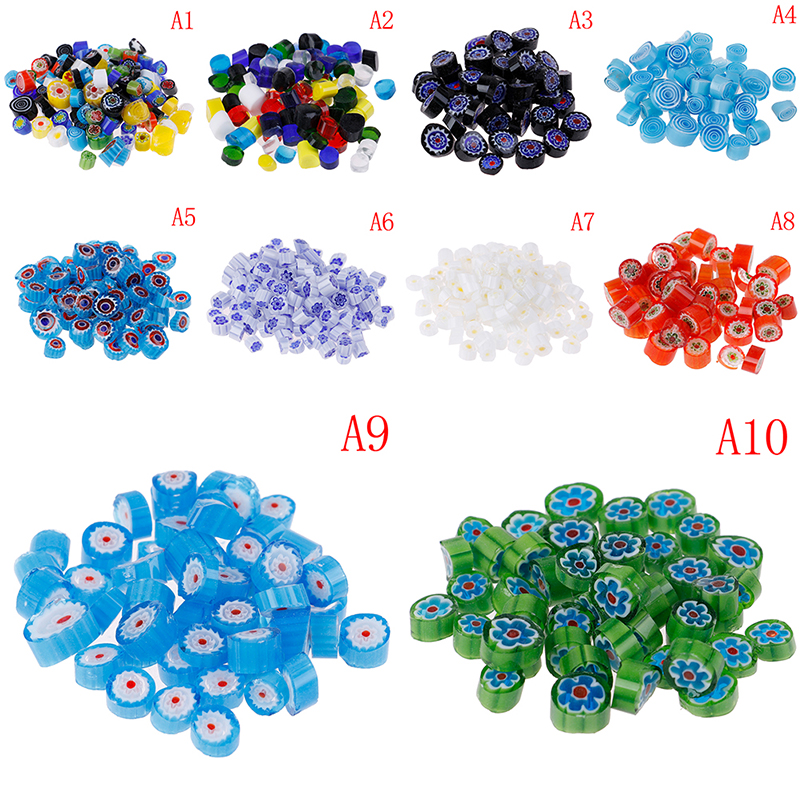 Fusible Glass Beads Mosaic Decor DIY Rainbow Mix Handmade Millefiori 28g title=