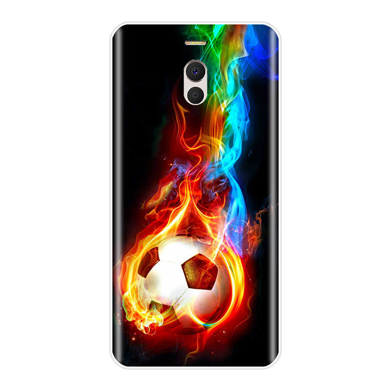 Para Meizu M3 M3NOTE MX4 M6S M6Note Pro6Plus U10 U20 fogo ardente de Futebol Bola De Futebol em água esportes de Silicone Macio caso de telefone