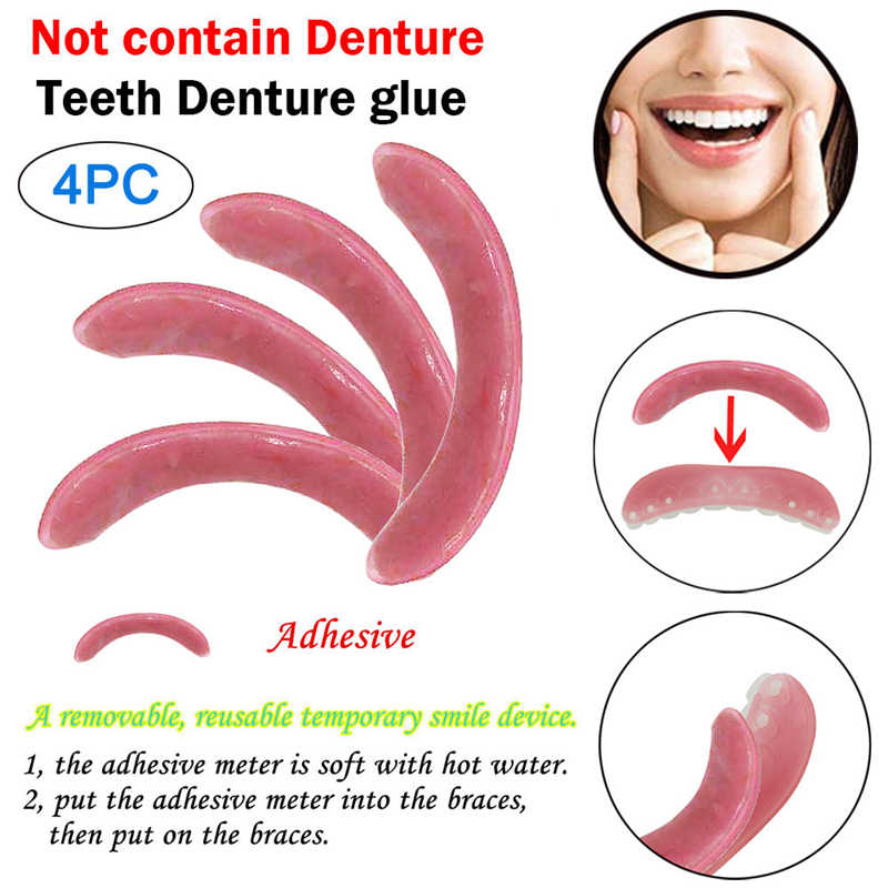 1/2/4 PCS Temporary Smile Comfort Fit Cosmetic Teeth Denture Glue For Denture Pink Teeth Denture Adhesives Maquillajes Para Muje