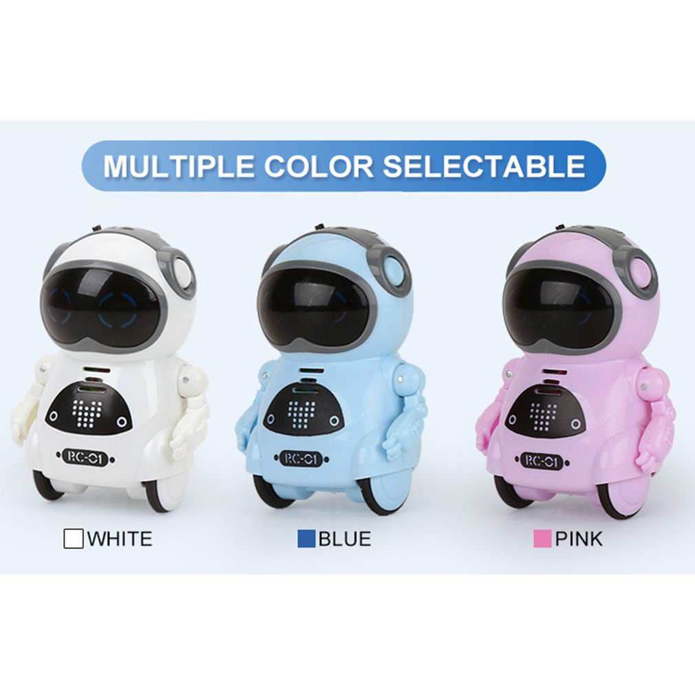 HOT Intelligent Mini Pocket Robot Walk Music Dance Light Voice Recognition Conversation Repeat Smart