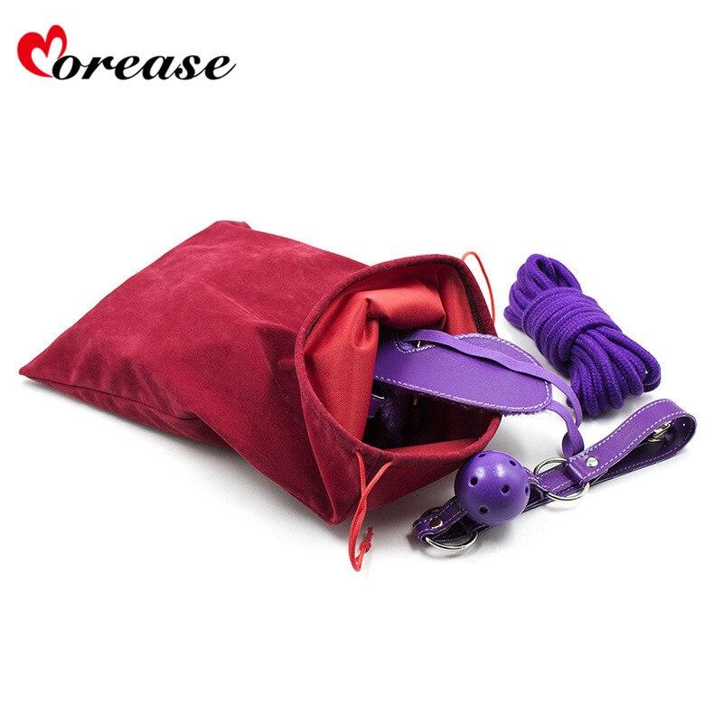 Morease Sex Toy Storage Bag Drawstring Flannel For Vibrator Anal Sexy Toy Bondage BDSM Secret Sex Tool Organizer Pouch