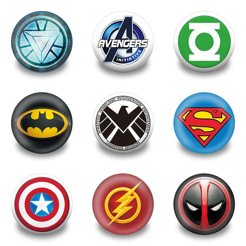 9pcs superhero avenger symbol cartoon figure icon buttons