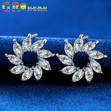 GR.NERH Top Quality Pure AAA CZ simulated Diamond Stone May Sunflower Stud Earrings Birthday Gift Jewelry For Women Earring