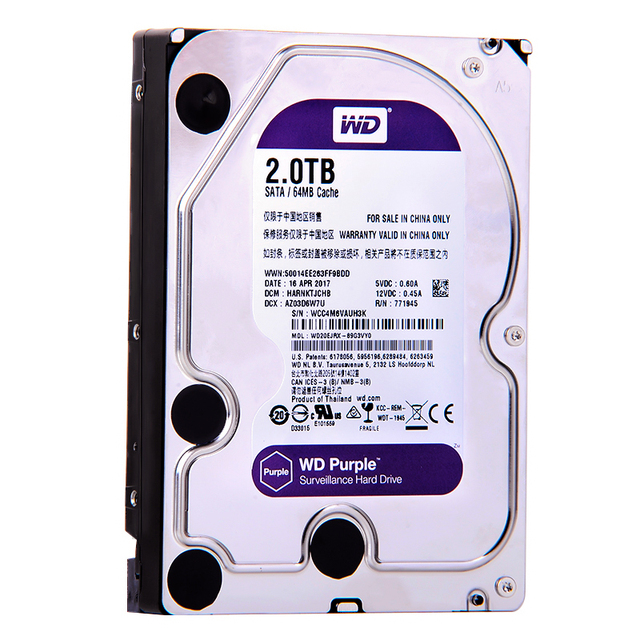 Wd Purple 2tb Hdd 64mb Sata 6 Gb S 3 5 Surveillance Internal Hard