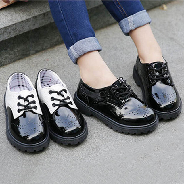 Kids Dress Shoes 2017 British Style Children Brogue Shoes Lace Up Boys Leather Shoes For Party Sapatos Ninos