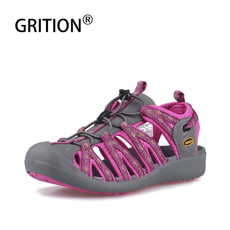 GRITION Women Outdoor Sandals Summer Flat Hiking Sandals Lightweight Fashion Beach Shoes Rubber Sole Breathable Outdoor Footwear
