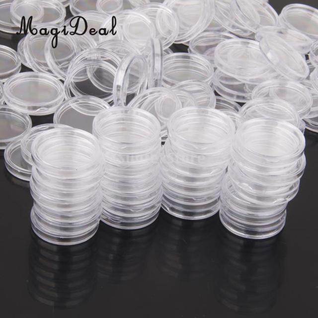 MagiDeal 100Pcs/Lot Coin Holder Capsules Clear Case Box for Coin Collection Protector 19mm/20mm/22mm/24mm/28mm/36mm/40mm