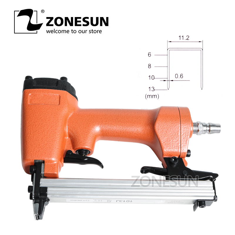 ZONESUN Nail Gun  Pneumatic Staple Gun Air Brad Door-shaped Nails Gun Furniture Wood Sofa Woodworking Air Stapler  11.2mm