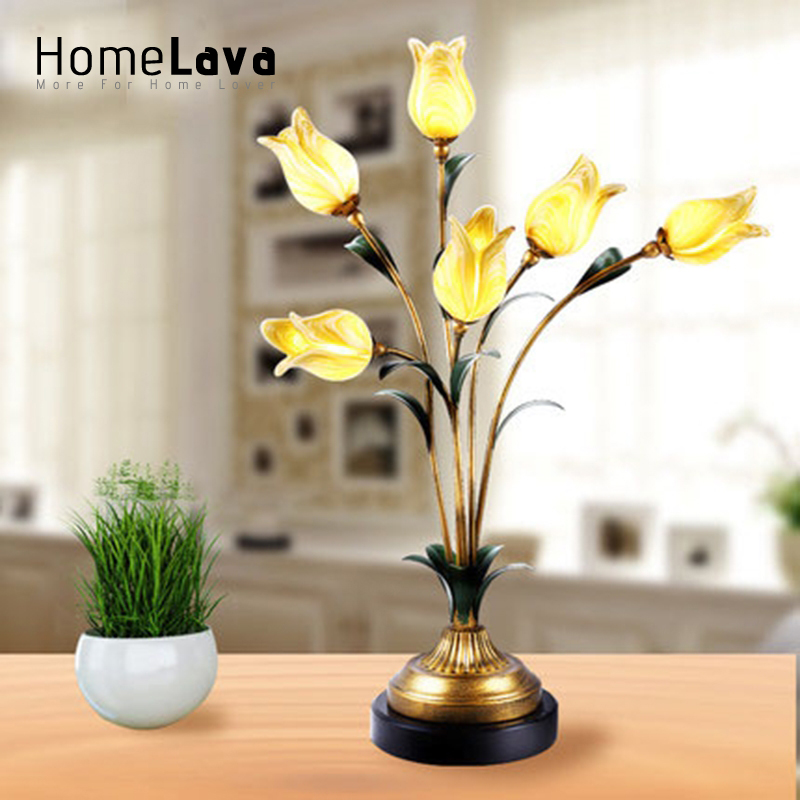 European style led table lamp retro iron led table lamp gold tulip european style led table lamp retro iron led table lamp gold tulip glaze shade 6 lights led table lamp in table lamps from lights lighting on aloadofball Image collections