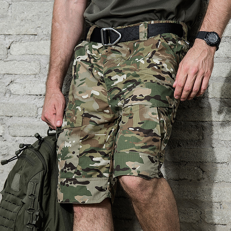 Summer Loose Camouflage Pockets Cargo Shorts Outdoor Climbing Anti Tear Waterproof Cotton Commuting Knee Length Short Trousers