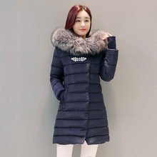 2016 winter coat women medium-long large fur collar down jacket female spliced sleeves diamonds parka plus size thick outerwear