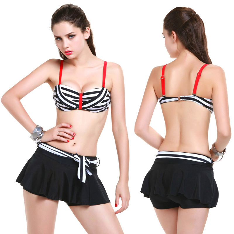 Cute Women New Sexy Beach Bikini Swimwear Stripes Swimsuit Push Up Three Piece Biquini Free Short Skirt Bathing Suits Size 38-46 2017 new one piece swimsuit women sexy bikini women push up swimwear swimsuit girls solid color beach sports biquini