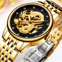 GUANQIN Brand GJ16059 Golden Dragon Stainless Steel Skeleton Waterproof Watches Men Business Luxury Automatic Mechanical Watch