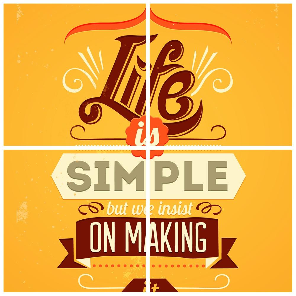 Life Quote Poster Vintage Retro Motivational Typography Simple Life Quotes A4 Big