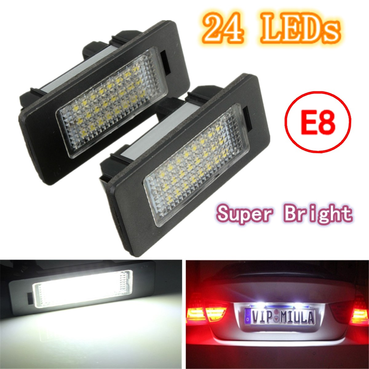 2X E-marked OBC Error Free 24 LED White License Number Plate Light Lamp For BMW E81 E82 E90 E91 E92 E93 E60 E61 E39 X1/E84 2pcs set led license plate light error free for bmw e39 e60 e61 e70 e82 e90 e92 24smd xenon white free shipping