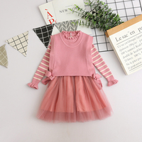 Kids Fashion Clothes Striped Sweater Princess Dress Sweater Vest Wholesale Lots Bulk Clothes Toddler Girl Autumn Winter Outfits