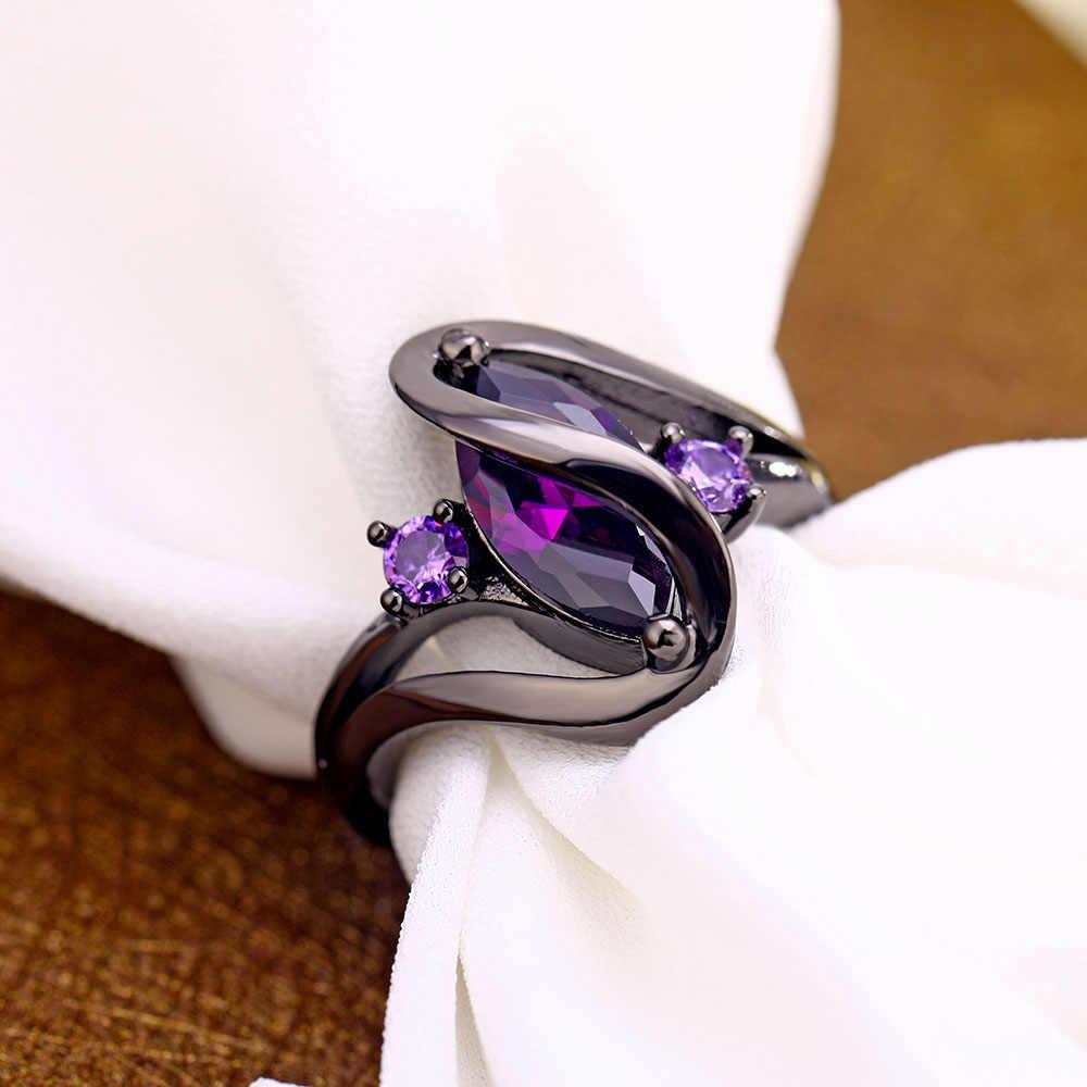FAMSHIN Luxury VINTAGE สีม่วง Zircon CZ Crystal คริสตัลแหวนผู้หญิงแหวนสแตนเลสเครื่องประดับหมั้น 2019