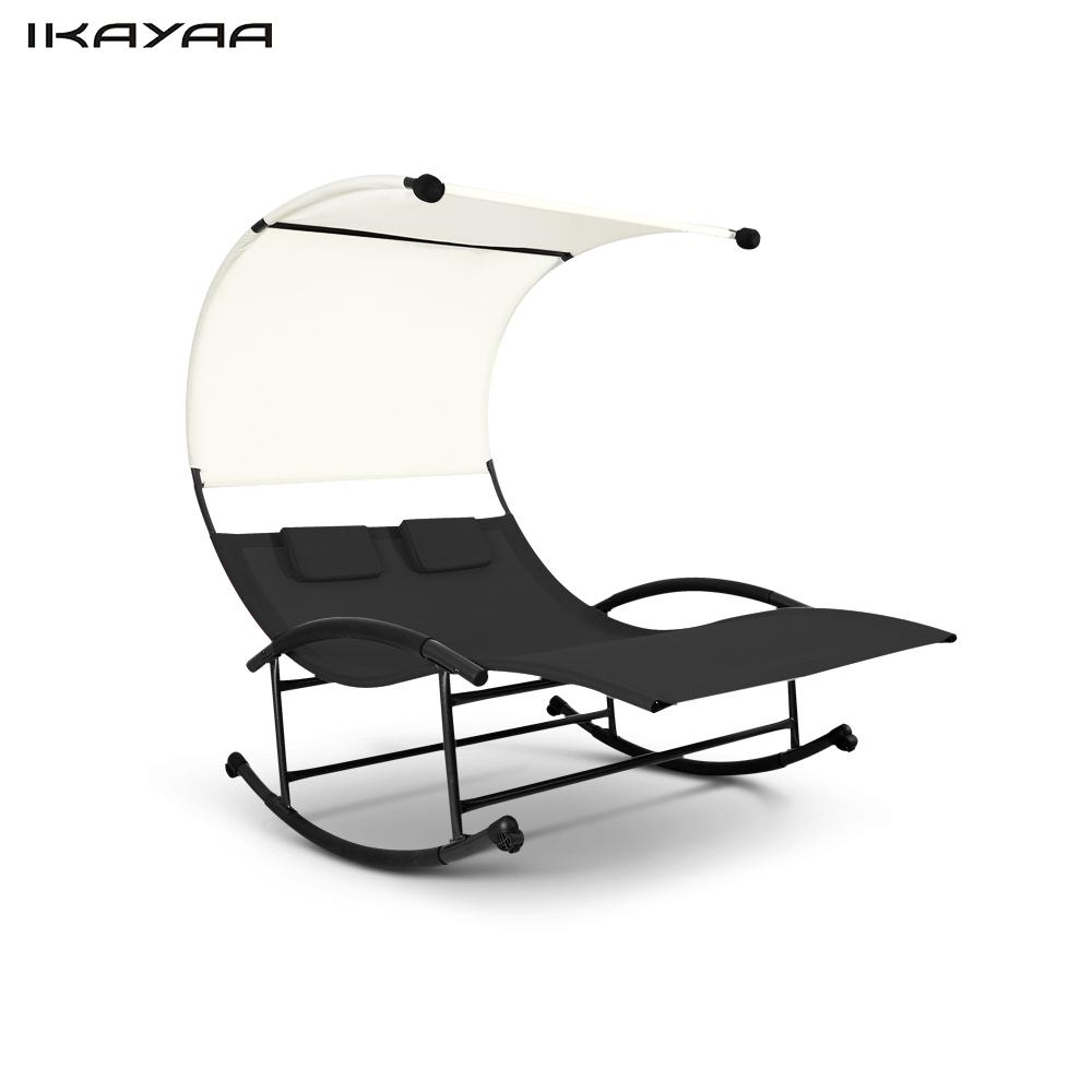 ikayaa outdoor double chaise rocker canopy garden pool double lounge chair bed patio loveseat. Black Bedroom Furniture Sets. Home Design Ideas