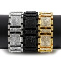 Hip Hop Bracelet Men's Luxury Simulated Diamond Fashion Bracelet Fashion Iced Out Gold Plated Bling Bling Jewelry