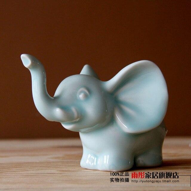 Small Ceramic Creative Lucky Elephant Sheep Goat Home Decor Crafts Room  Decoration Handicraft Ornament Porcelain Animal