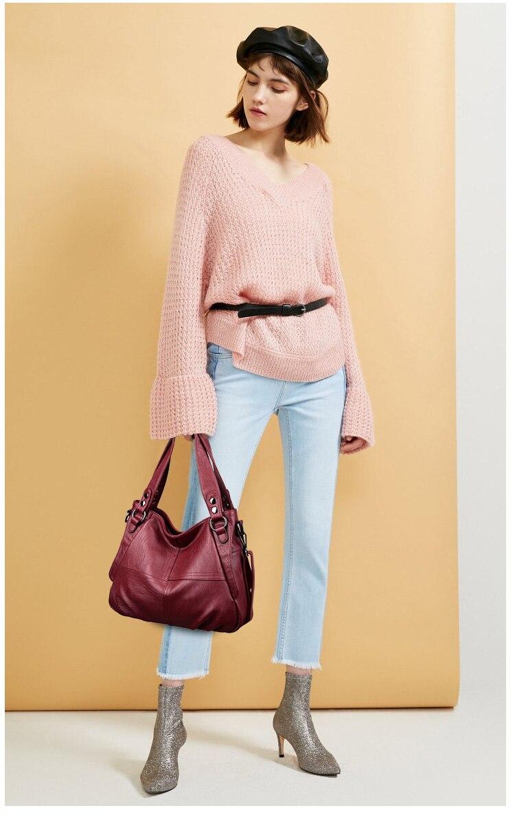 Moda feminina bolsa de couro macio bolsas