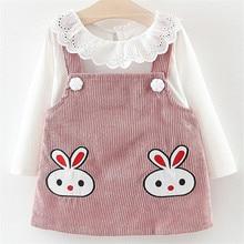 2019 Autumn Spring 2pcs Childrens Clothing Set Girls Solid Round Neck Lace Blouse Shirt+Cartoon Rabbit Print Strap Dress Suit